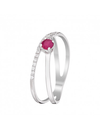Bague Or Blanc 375/1000 Emeraude