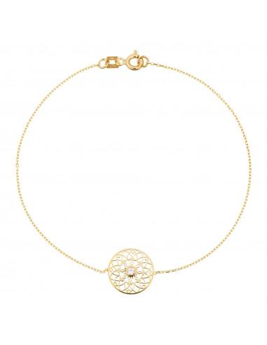 Bracelet Instant d'or Amour Amitié Affection Or Tricolor 375/1000 et oxyde de zirconium