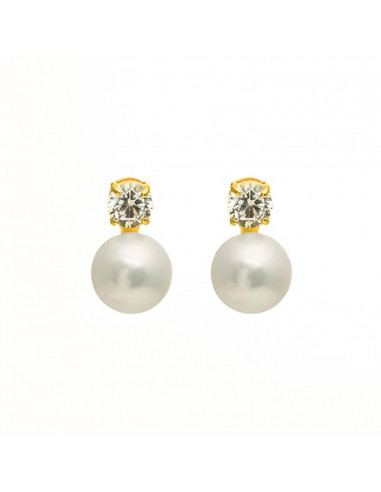 boucle oreille perle blanche or blanc